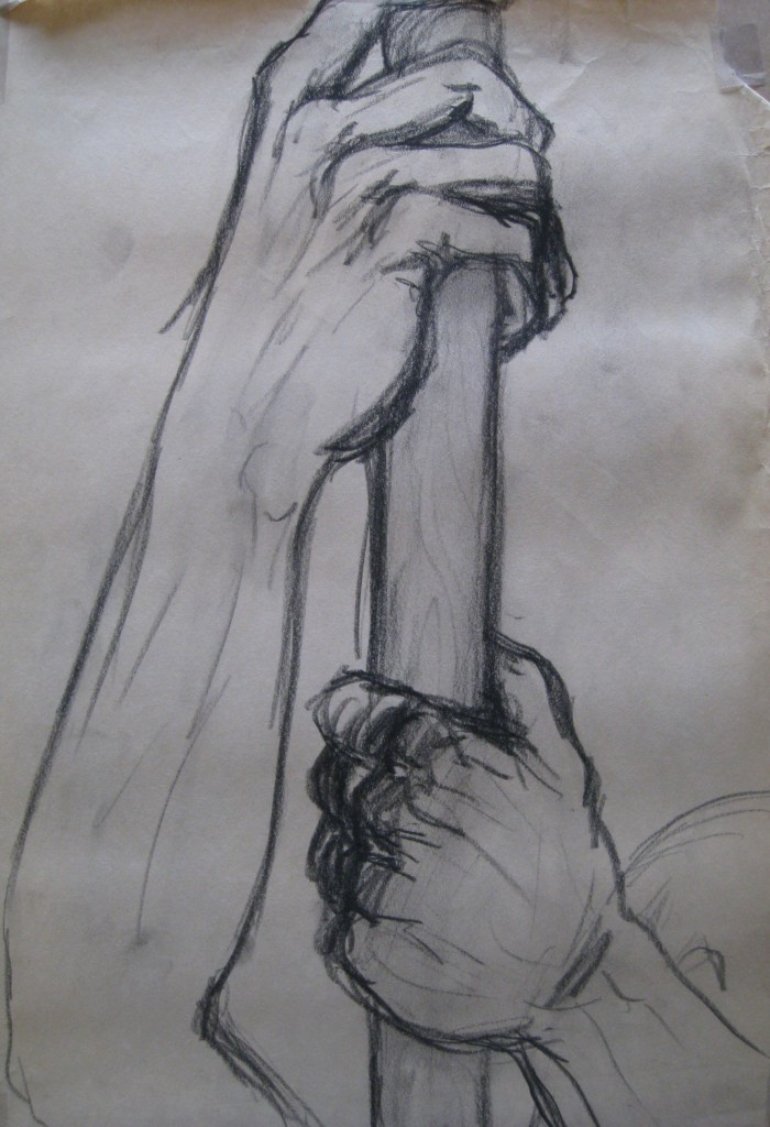 Drawing of Hands Holding Hand Holding Knife Drawing